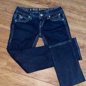 Rock revival dark jeans size 28 Heather easy straight